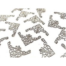 2 PACK SILVER FINISH CORNER EMBELLISHMENT FILIGREE