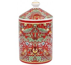 William Morris Red Strawberry Thief Lidded Candle Jar