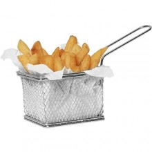 4 STAINLESS STEEL MINI CHIP BASKETS