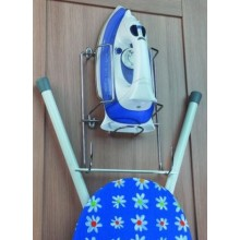 CHROME IRON AND IRONING BOARD STORAGE HOLDER RACK