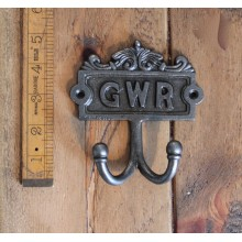 GWR PLAQUE ANTIQUE FINISH CAST IRON DOUBLE ROBE HAT & COAT HOOK PEG