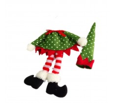 CHRISTMAS WINE BOTTLE COVER WRAP ELF  ( DOT )