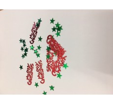 CHRISTMAS TABLE PARTY DECORATIONS IN RED AND GREEN WITH HAPPY CHRISTMAS AND STAR'S
