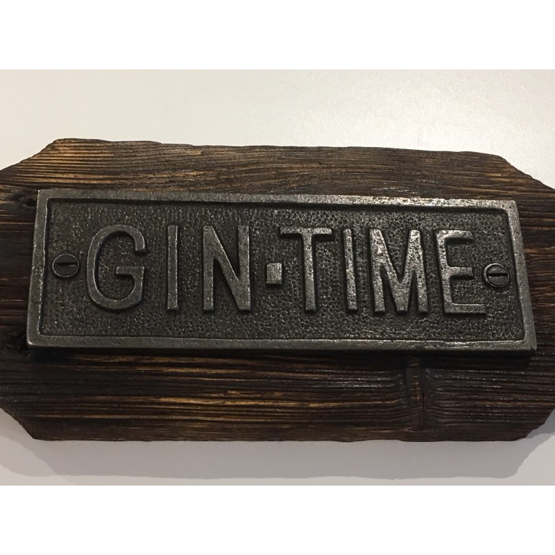 Gin Time Cast Iron Wooden Plaque Rustic Vintage
