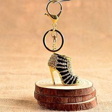 Black and gold crystal high heel keyring