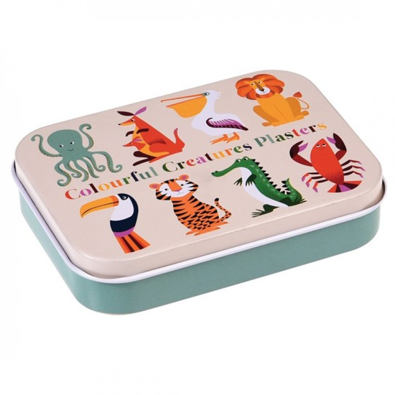 CHILDREN COLOURFUL CREATURES PLASTERS IN A TIN