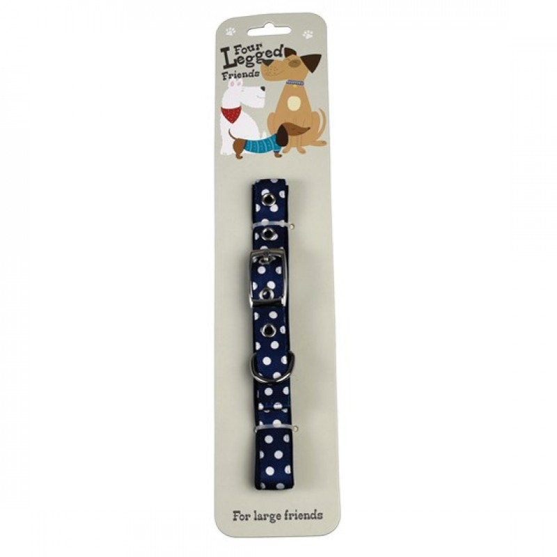 DOG COLLAR IN BLUE POLKA DOT SIZE LARGE