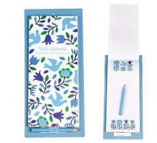 FOLK DOVES MAGNETIC SHOPPING LIST WITH PENCIL