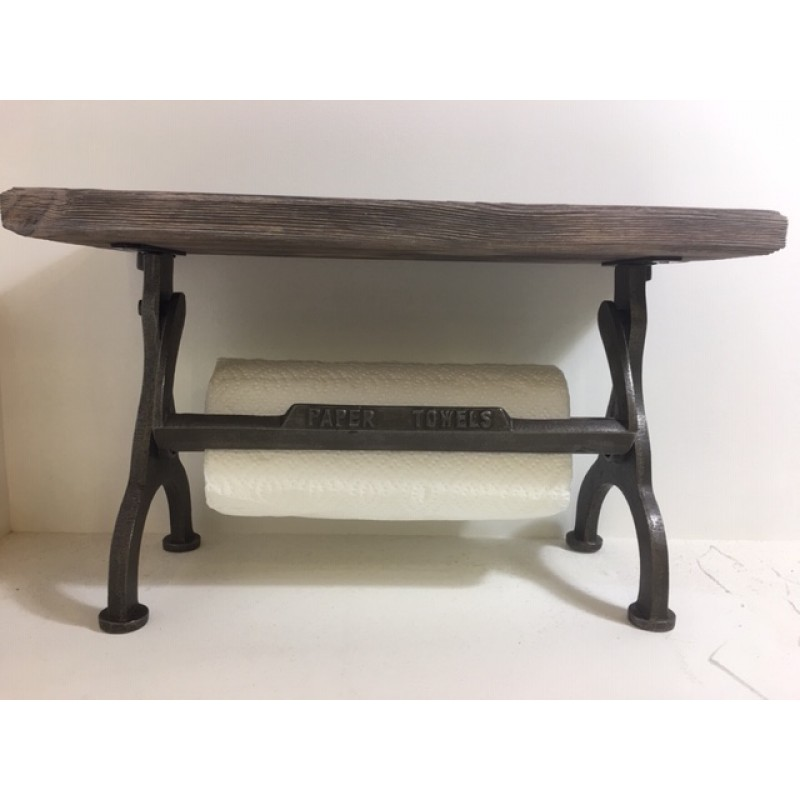 Rustic kitchen towel holder with a shelf.