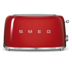 Smeg 50's Retro Style Toaster Four Slice with Two Large Slots Red