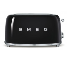 Smeg 50's Retro Style Toaster Four Slice with Two Large Slots Black