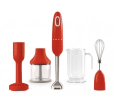 Smeg Red 50's Retro Style Hand Blender with Accessory Set