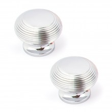 SARAH BEENY POLISH CHROME RIMMED DOOR FURNITURE KNOB PACK OF 2