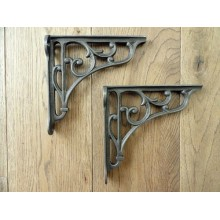A PAIR OF SMALL CLASSIC CAST IRON  VICTORIAN  SCROLL SHELF BRACKETS 4 INCH BRACKET