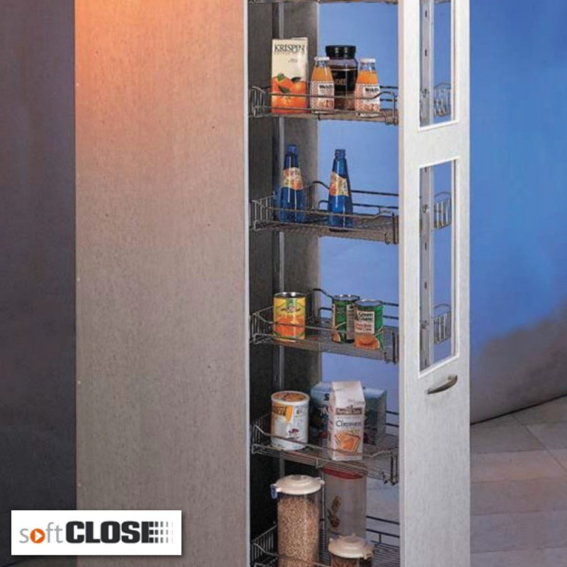 Tall soft close pull out kitchen cabinet larder unit for 300mm tall kitchen unit
